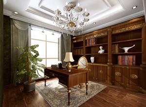 120㎡典雅美式风格书房设计装修效果图