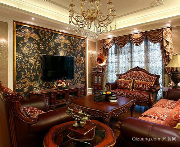 70平米中式新古典客厅装修效果图