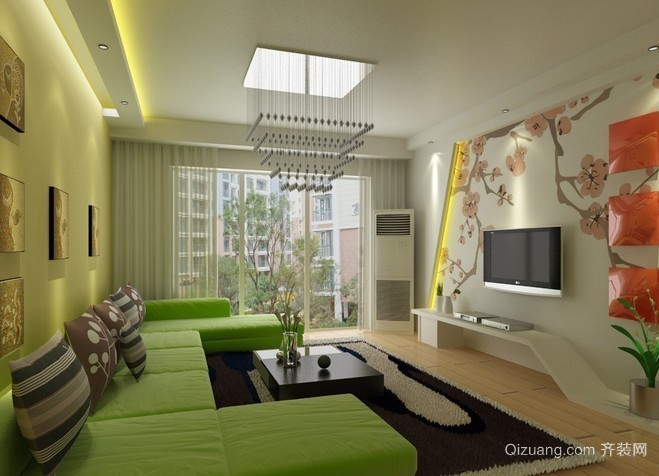 欧式100平米房屋客厅背景墙装修效果图