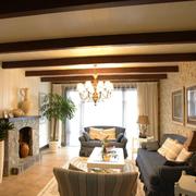 复式楼客厅生态木吊顶