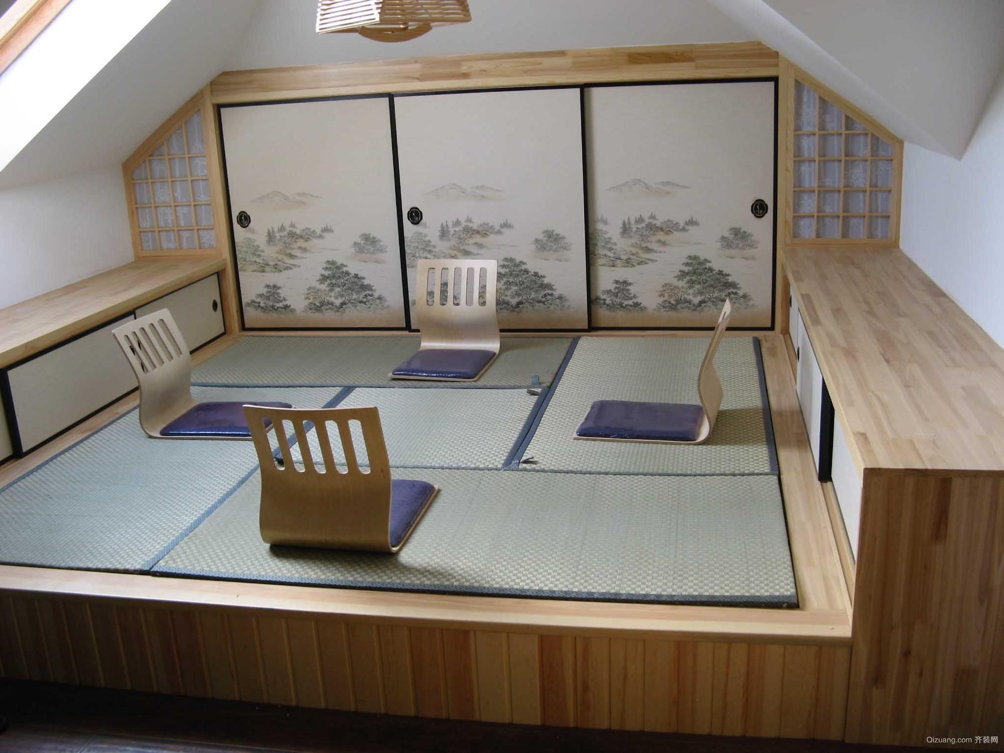 小户型日式卧室榻榻米背景墙装修效果图