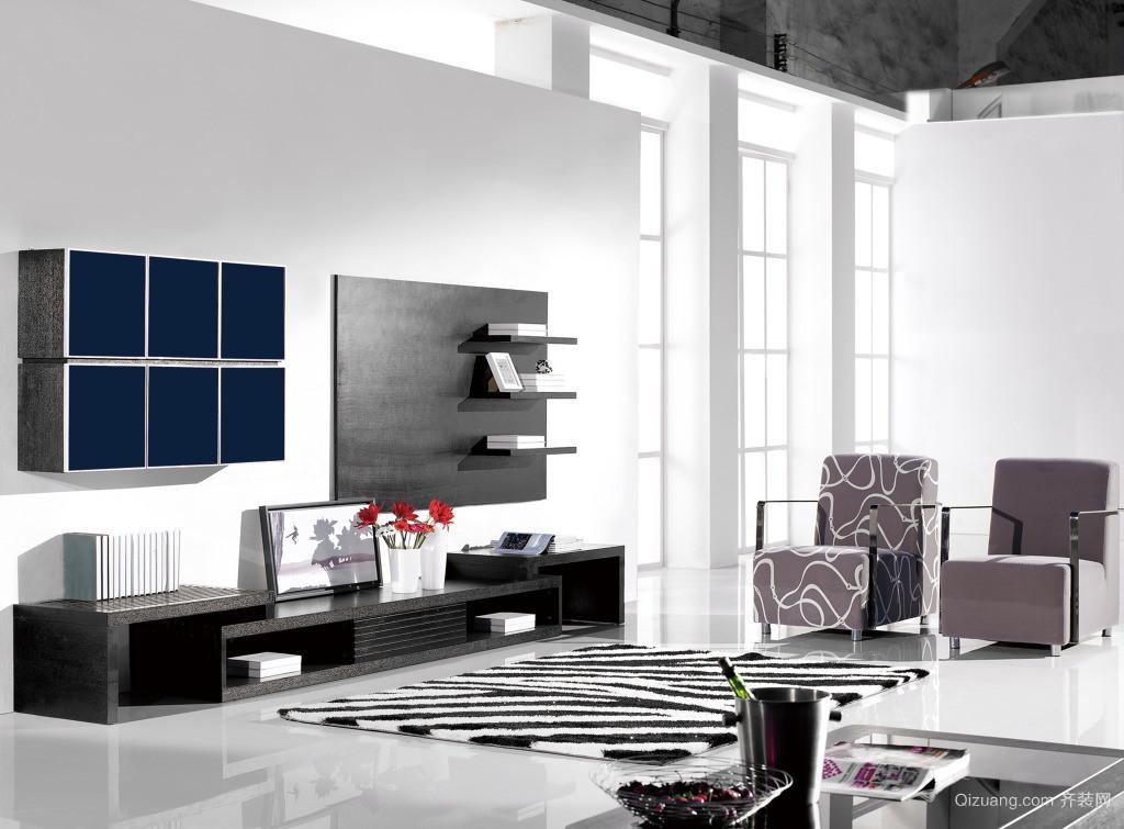 单身公寓欧式客厅电视柜背景墙装修效果图