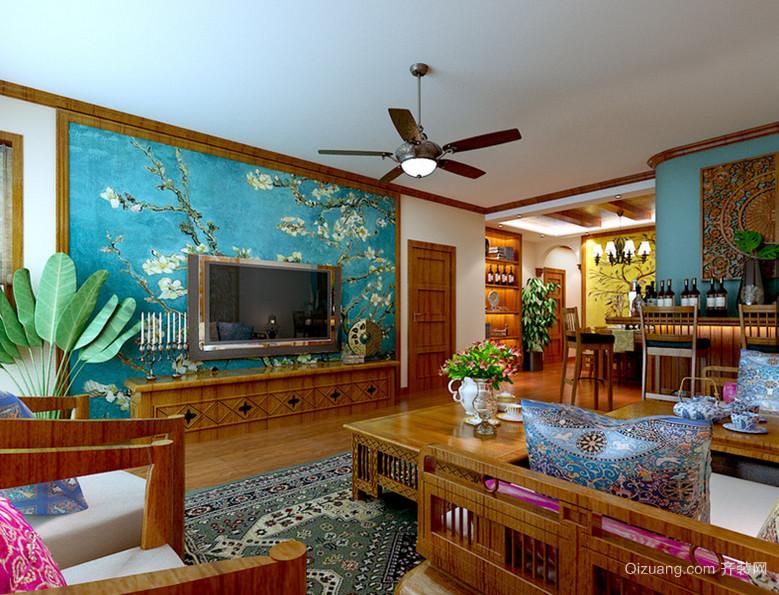 135㎡东南亚客厅吊顶电视背景墙装修效果图