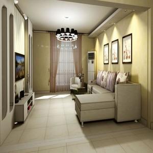 单身公寓美式客厅踢脚线背景墙装修效果图