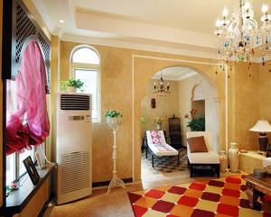 大户型欧式豪华客厅地砖拼花背景墙装修效果图