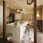 厨房大型白色吧台
