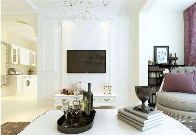 错落有致的客厅石膏线电视背景墙装修效果图