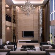 复式楼客厅精致电视背景墙