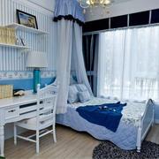 卧室条纹蓝色壁纸