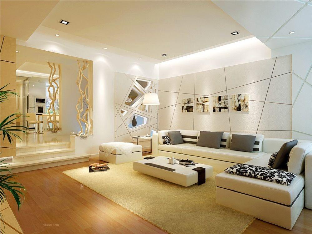 单身公寓欧式客厅错层背景墙装修效果图