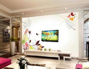 三室一厅客厅手绘电视背景墙装修效果图