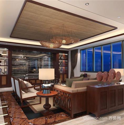 浓烈自然东南亚风格客厅吊顶装修效果图