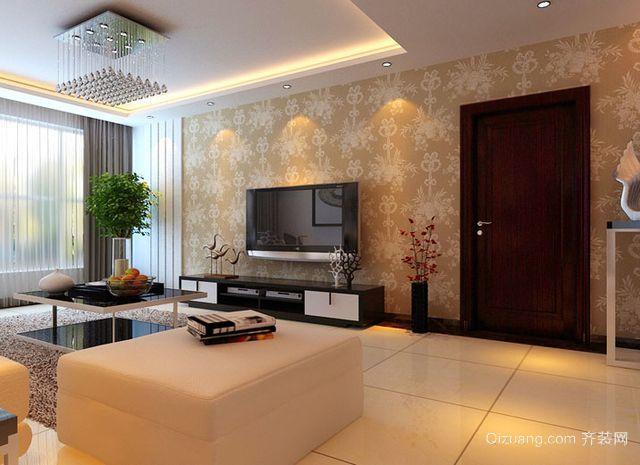 120平米大户型简约中式客厅背景墙装修效果图