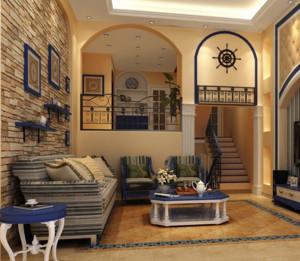 两室一厅地中海风格自然清新客厅装修