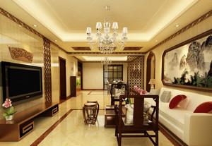 148㎡大户型中式客厅吊顶电视背景墙装修效果图