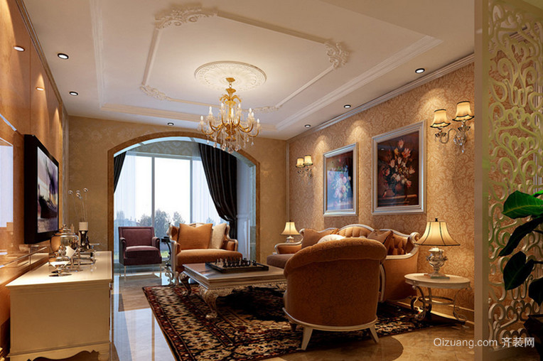 大户型新古典风格客厅吊顶电视背景墙装修效果图