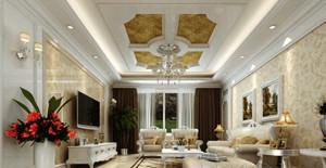 三居室浪漫法式客厅吊顶电视背景墙装修效果图