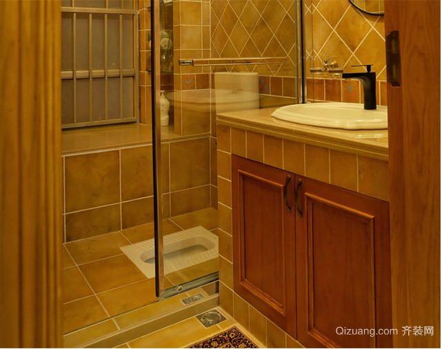 美式乡村洗手间装修效果图