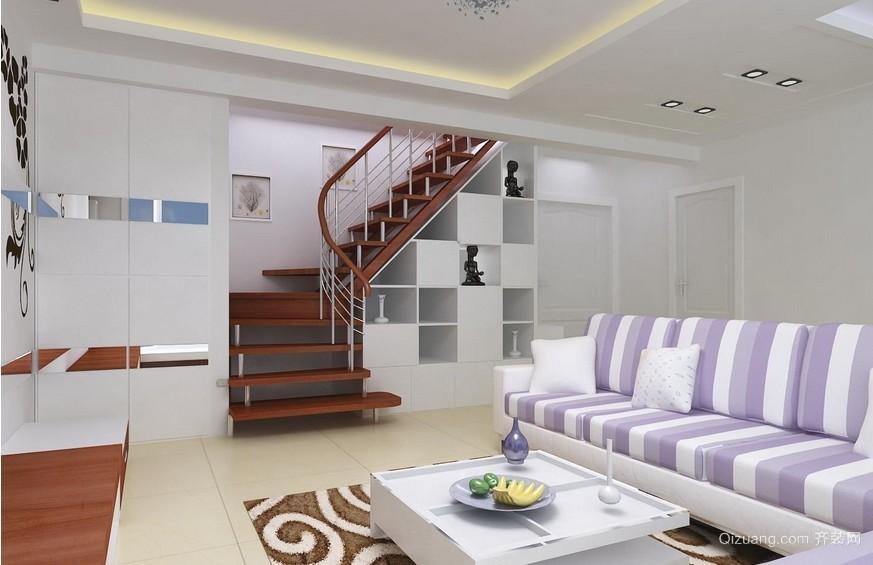 120平米大户型欧式跃层客厅背景墙装修效果图