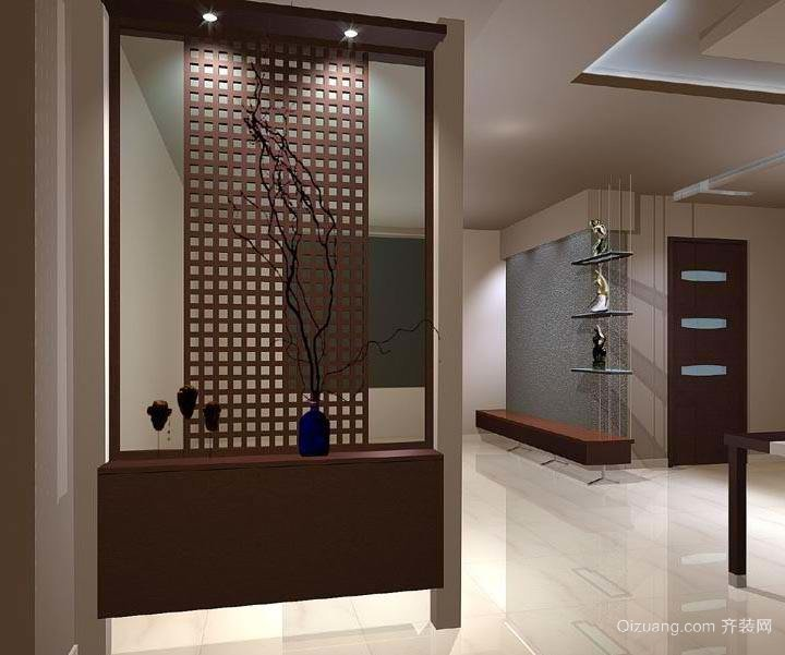 单身公寓欧客厅进门玄关鞋柜装修效果图