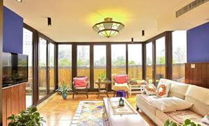130平米美式乡村风格客厅吊顶电视背景墙装修效果图