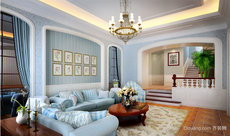 三室两厅大户型田园风格客厅装修效果图
