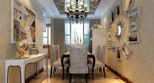 罗曼蒂克大户型法式风格餐厅吊顶背景墙装修效果图