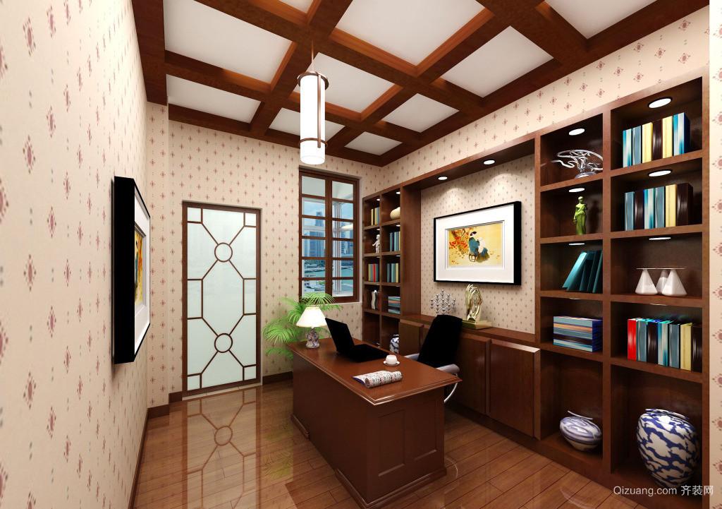 70平米现代书房吊顶背景墙装修设计效果图