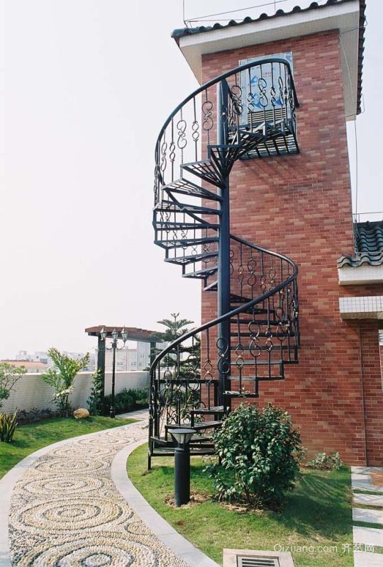 自建别墅精致铁艺旋转楼梯图片集