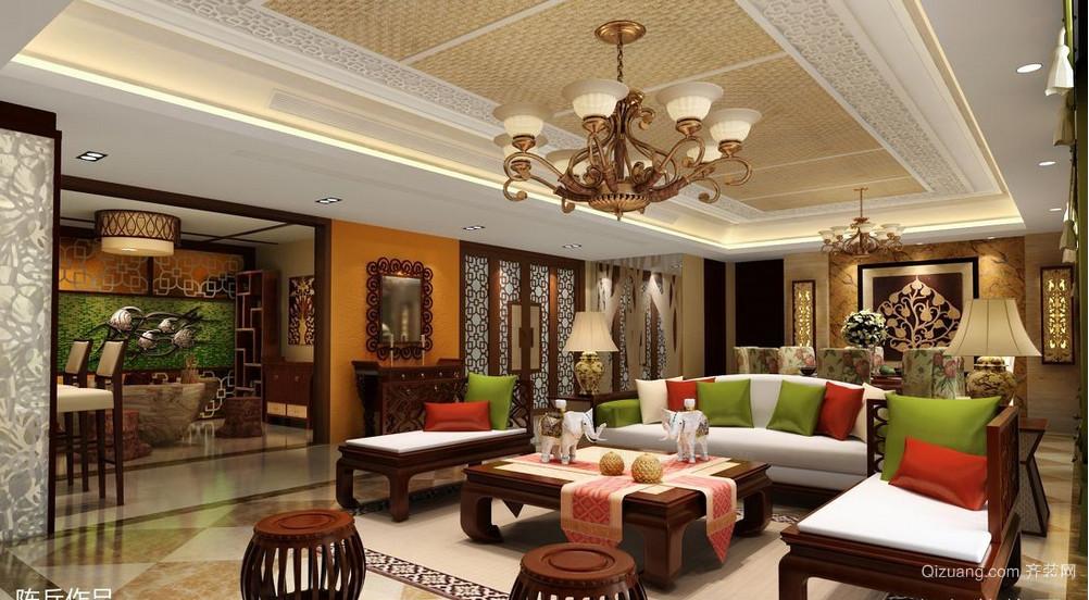 东南亚客厅吊顶装修效果图
