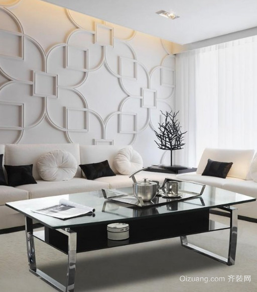 客厅创意玻璃茶几装修效果图