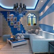 蓝色调客厅效果图片