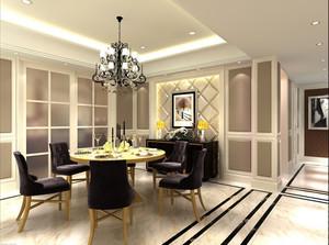 120平米大户型欧式餐厅吊灯背景墙装修效果图