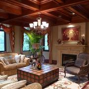 客厅生态木美式吊顶
