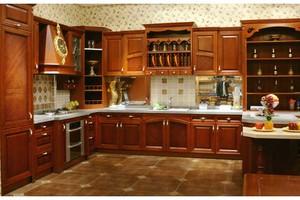 70平米小户型欧式厨房实木整体橱柜装修效果图