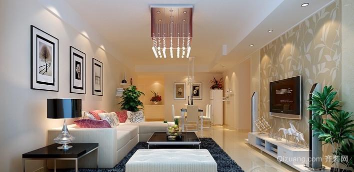 两居室简约现代风格客厅吊顶电视背景墙装修效果图
