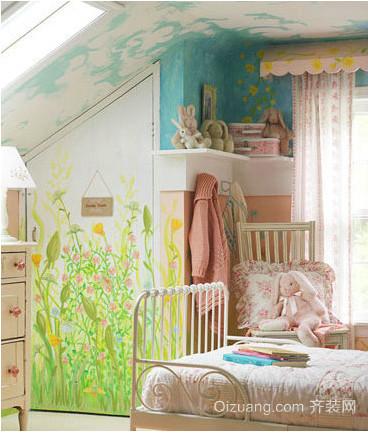 色彩鲜明卧室手绘装修效果图