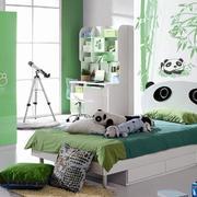 清新绿色卧室墙面