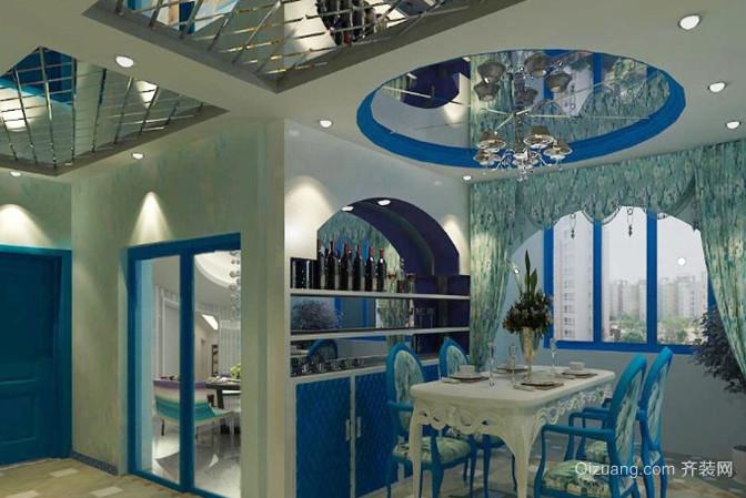 90平米小户型地中海风格餐厅吊顶背景墙装修效果图
