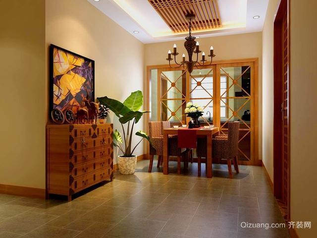 三室二厅东南亚风格客厅电视背景墙装修效果图