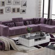 客厅紫色转角沙发