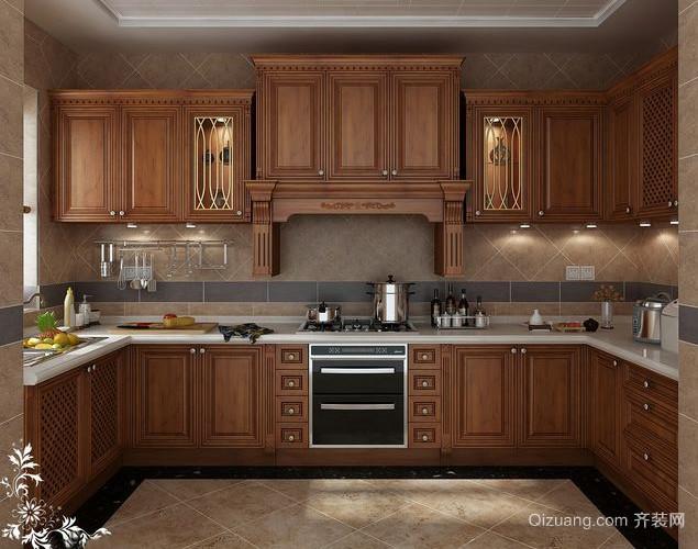 30平米美式复古厨房装修效果图