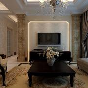 欧式别墅客厅隐形门装饰