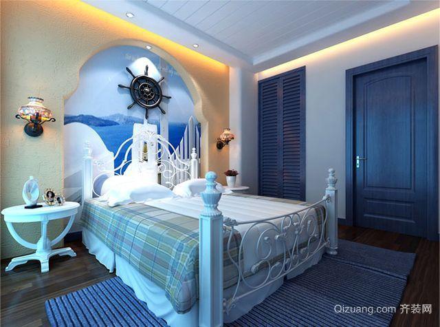 单身公寓地中海风格卧室背景墙装修效果图