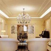 三室一厅明亮黄色客厅