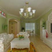 复式楼客厅清新绿色装饰