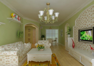 复式楼田园风格客厅装修效果图