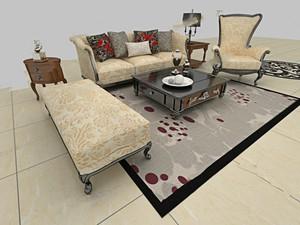 120平米大户型客厅欧式家具背景墙装修效果图