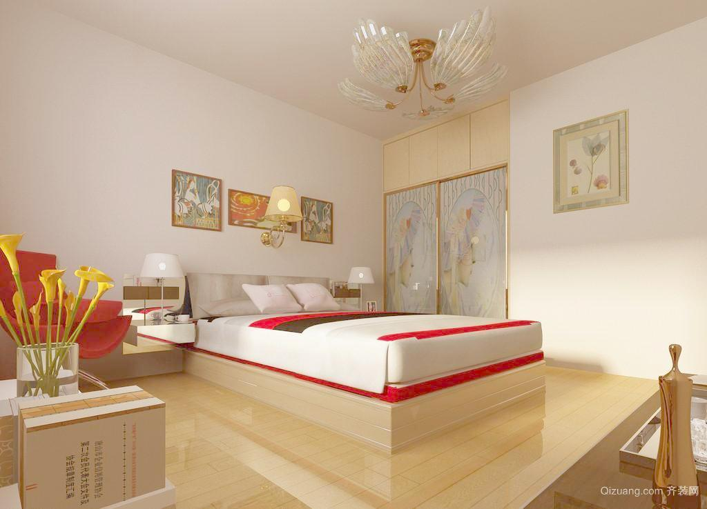 90平米简约卧室床头壁灯背景墙装修效果图