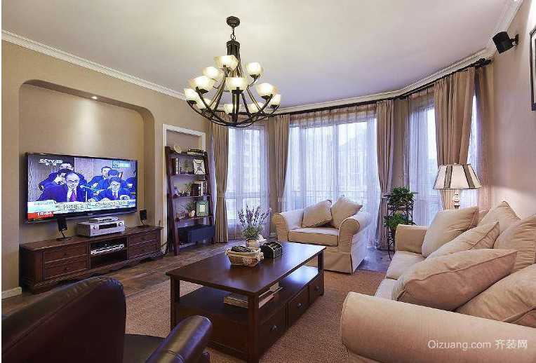 复古美式客厅装修效果图
